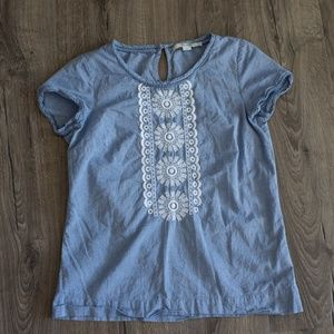 Boden classic lace embroidery chambray shirt 4 s